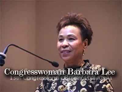 Congresswoman Barbara Lee speaking at a tribute for Maudelle Shirek
