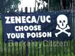 Sign: Zeneca/UC Choose Your Poison