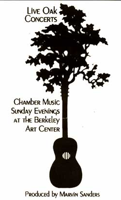 Live Oak Concerts program logo: Oak tree and guitar