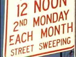 street sweep sign